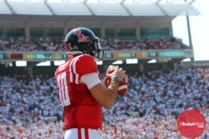 Chad Kelly is ranked No. 3 in the nation in Total QBR. (Photo credit: Amanda Swain, The Rebel Walk)