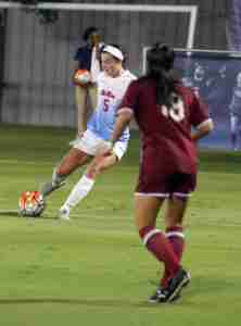 Ole Miss' Georgia Russell scored the Rebels' first goal of the night. (Photo credit: Joshua McCoy, Ole Miss Athletics)