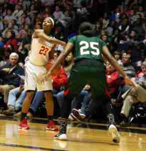 Shandricka Sessom scored a team-high 24 points in the win. (Photo credit: Joshua McCoy, Ole Miss Athletics)
