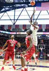 Marcanvis Hymon finished with a double-double in the win over Arkansas. (Photo credit: Ellen O'Nan, Ole Miss Athletics)