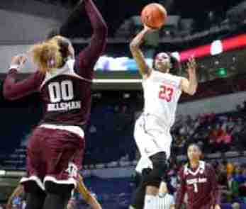 Shandricka Sessom led the Rebels with 13 points against A&M Monday night. (Photo credit: Joshua McCoy, Ole Miss Athletics)