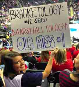 Paige supporting Marshall and the Rebels in the NCAA tournament.