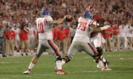 Chad Kelly throws the ball during the Rebels' win over Alabama in 2015. (Photo credit: Bentley Breland, The Rebel Walk)