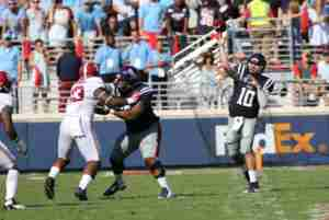 Chad Kelly finished with a career-high 421 yards in the Rebels' loss to Alabama. (Photo credit: Josh McCoy, Ole Miss Athletics)