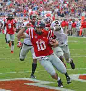 Chad Kelly scored two TDs with his arm and one with his feet. (Photo credit: Petre Thomas, Ole Miss Athletics)
