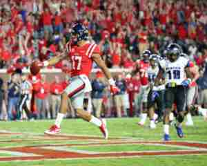 Tight end Evan Engram caught 4 passes for 82 yards and one TD in the win over Memphis. (Photo credit: Josh McCoy, Ole Miss Athletics)