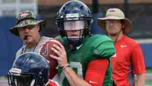 Shea Patterson works out with the Rebels in fall two-a-days. (Photo credit: Andy Hodges, GameDayMiss.com)