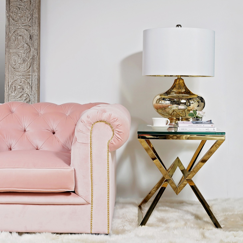 Sweetpea & Willow Vintage Rose Berkley collection armchair £1495, antique mercury glass lamp £195, Eicholtz connor side table £1195   (5)