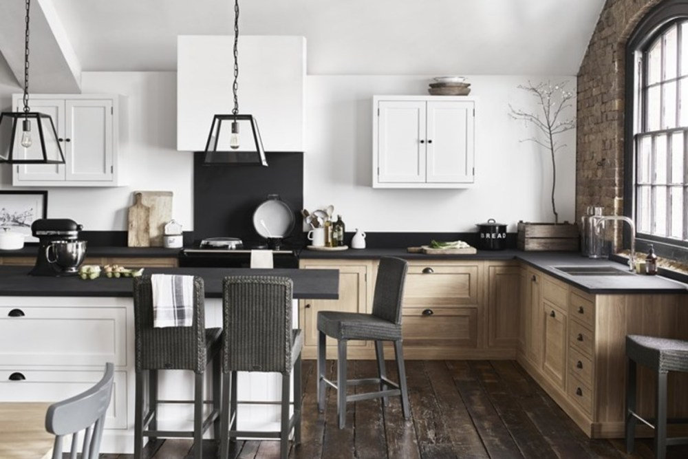 This year's Hygge is all about giving a utilitarian scheme an organic style with raw finishes and hand-crafted details. If you like simple country schemes, but are drawn to modern design too, you'll love this trend. This tactile look will bring a calm, contemporary vibe to a kitchen, living room or bedroom. It works very well against bare brick walls and wooden floorboards that can be found in period properties and barn conversions. Stick to a calming palette of chalky white, warm grey with black or navy accents.
