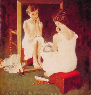 Girl at Mirror - Norman Rockwell - 1954