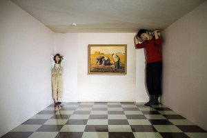 Japanese women experience the 'Ames Room' gallery Takao Trick Art Museum