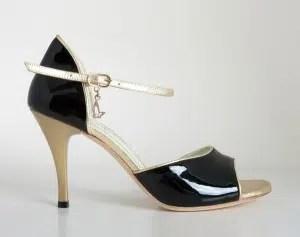 Chaussures de tango femmes marque Turquoise shoes - Modèle M08 Black Gold