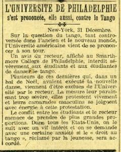 Le petit journal 1 janvier 1914 - Universite Philadelphie contre le tango