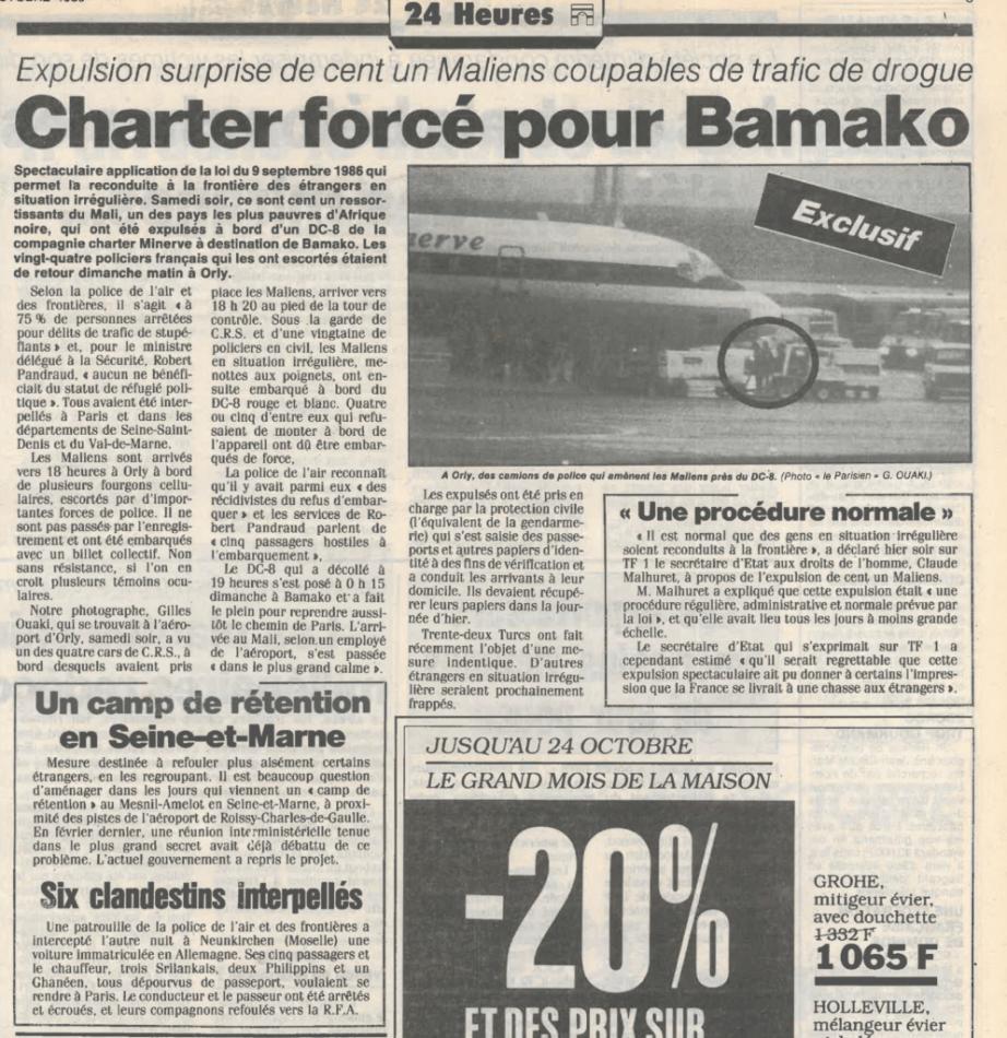 article du 20 octobre 1986 dans le parisien