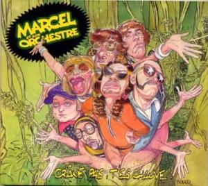 pochette de l'album crâne pas t'es chauve. Dessin de Boucq représentant les memberes du groupe dans la jungle.