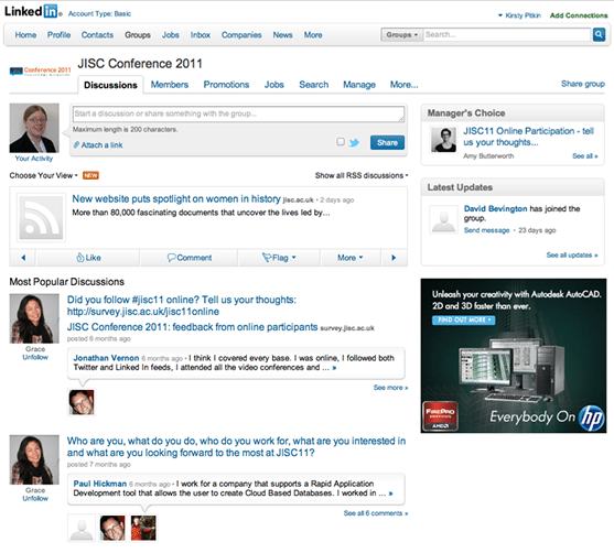 JISC11 LinkedIn Group Screenshot