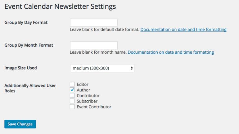 Event calendar newsletter settings