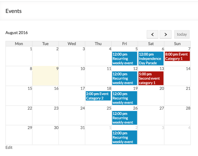 event organiser full calendar display