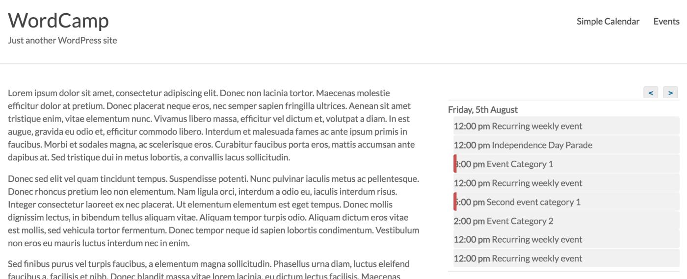 event organiser agenda list calendar display