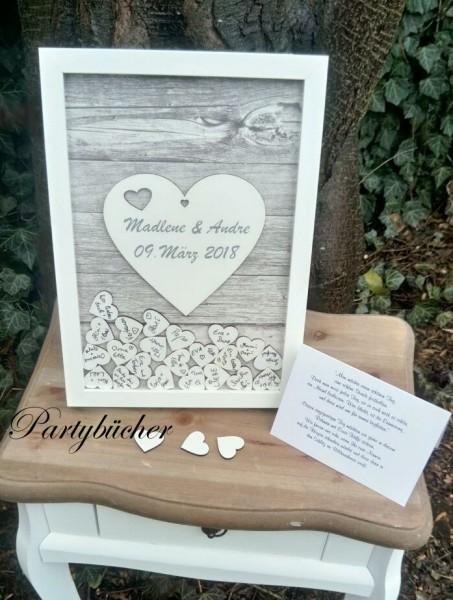 Gastebuch Zur Hochzeit Als Bilderrahmen Mit 3d Herzen Kugel