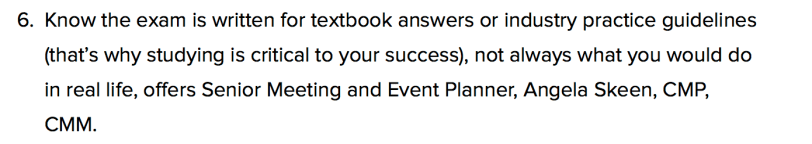 Angela Skeen CMP exam quote on the Event Manager Blog