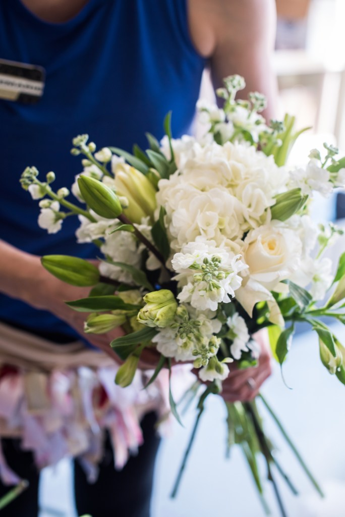 white and green floral bouquet