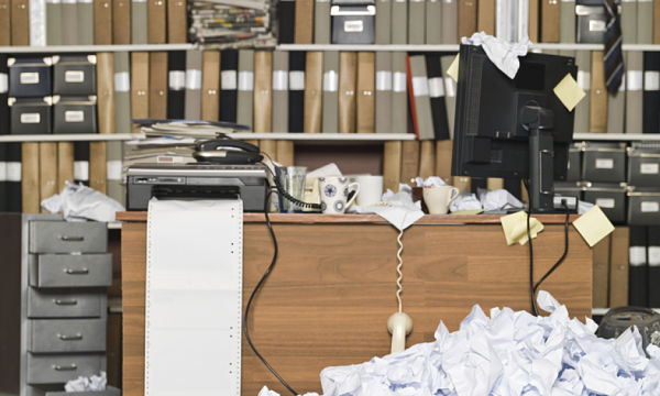 Messy office without filling