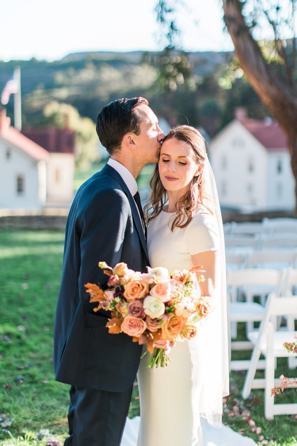 Warm, Autumn Wedding with the Golden Gate Bridge at Cavallo Point