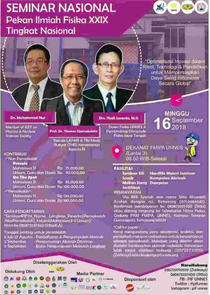 Seminar Nasional Pekan Ilmiah Fisika XXIX 2018