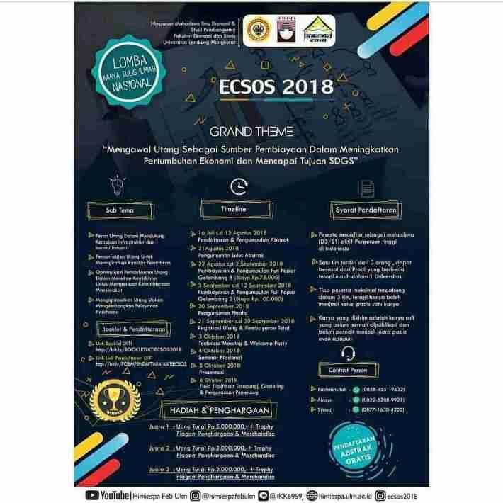 Lomba Karya Tulis Ilmiah Mahasiswa ECSOS 2018