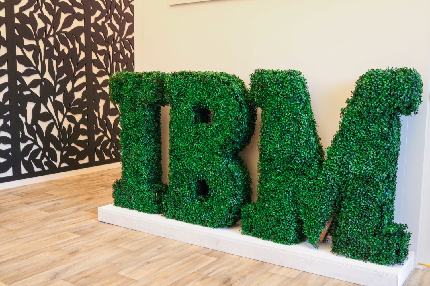 Green letters custom displays event plants melbourne hire