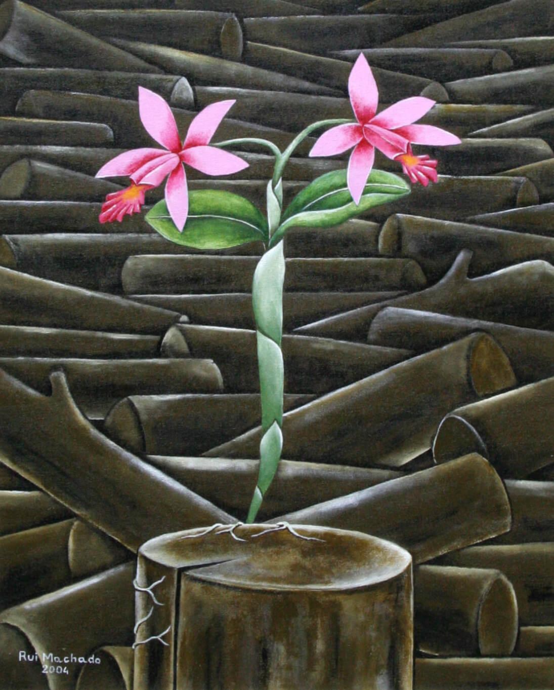 """Série: """"Floral"""", (40 x 50 cm), acrílica sobre tela, 2004"""