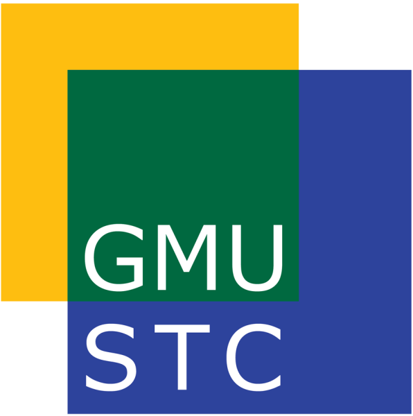 Graphic of yellow, green, and blue blocks overlaying each other with GMU STC in white letters in the center.