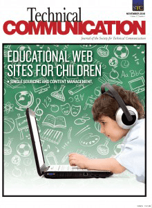 Sample cover of the Technical Communication Journal.