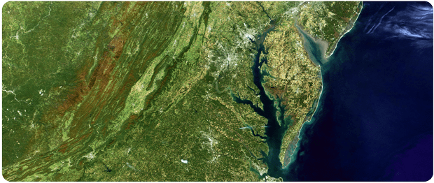 Landsat image of the Mid-Atlantic states and the Chesapeake Bay