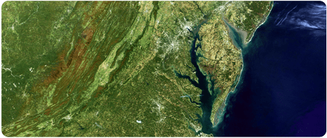 Landsat image of the Chesapeake Bay and Mid Atlantic states