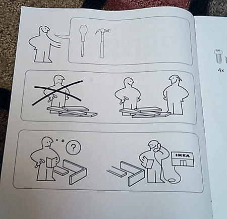 Photo of a page in an IKEA instruction manual that uses no words--only drawings--for how to assemble a bookshelf.