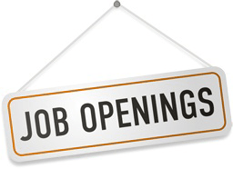Graphic of sign for Job Openings with brown border