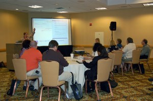 Carolyn Kelley Klinger makes a point in her session during Leadership Day.