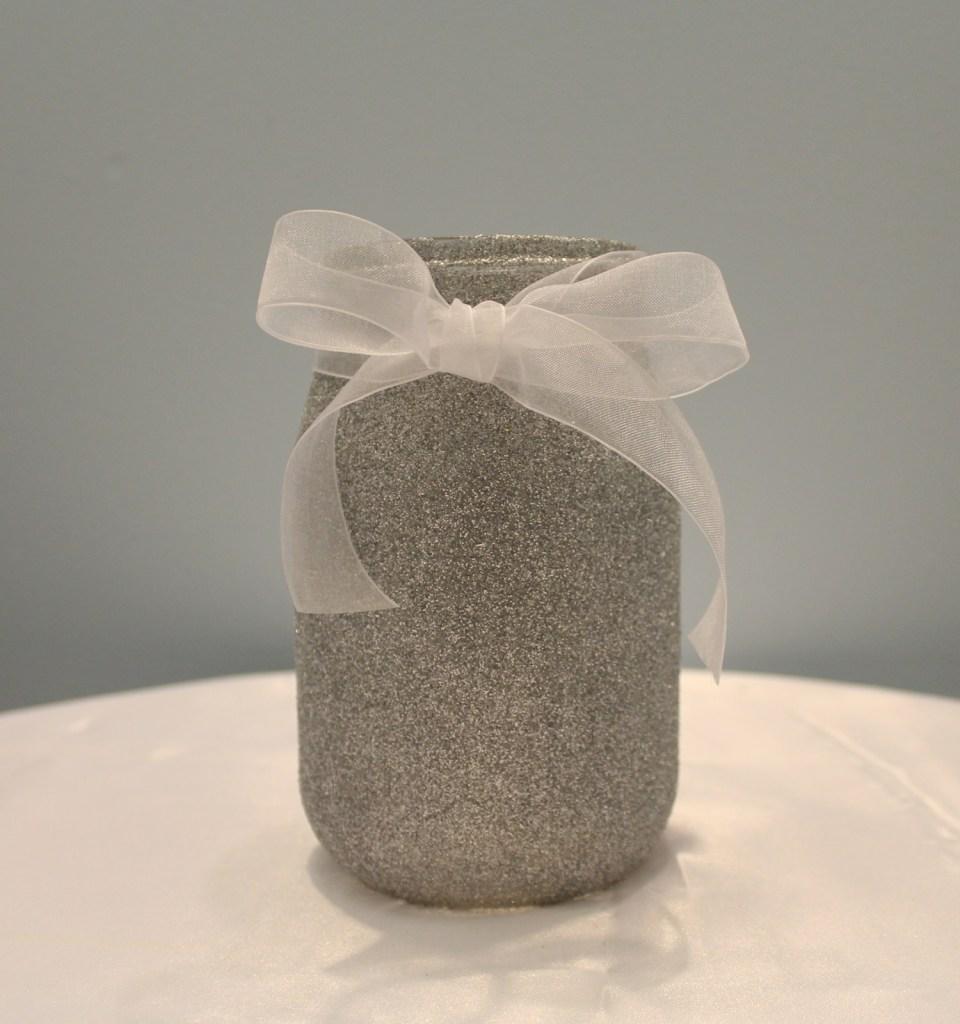 Silver Glitter Mason Jar Image