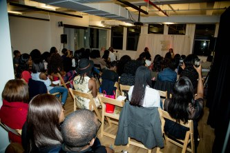 Toke Makinwa speaking to the crowd of attendees at New York Book Tour Stop
