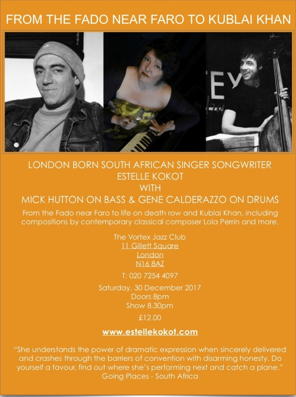 Estelle Kokot - Mick Hutton & Gene Calderazzo - The Vortex Jazz Club