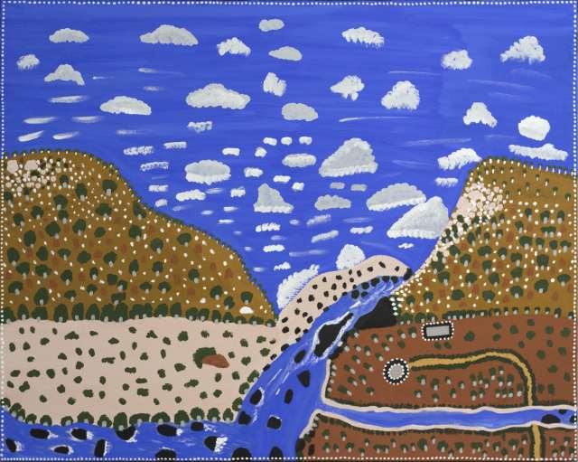 Kathy Ramsay Dicks Yard 2020 Ochre acrylic pigment and synthetic binder on canvas 120 x 150 cm min