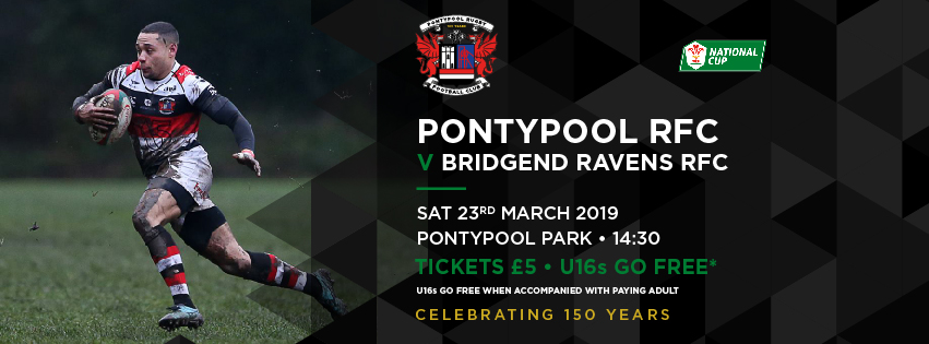 Pontypool RFC V Bridgend Ravens RFC – WRU National Cup Quarter Finals