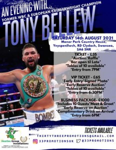 An evening with Tony Bellew in Clydach, Swansea @ Manor park hotel,