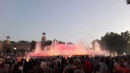 Magic Fountain og Montjüic med lys