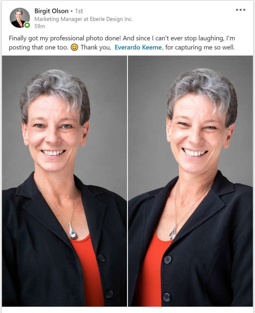 Everardo Keeme Photography Headshot Testimonial From Birgit Olson with Eberle Design testimonial headshots headshot review