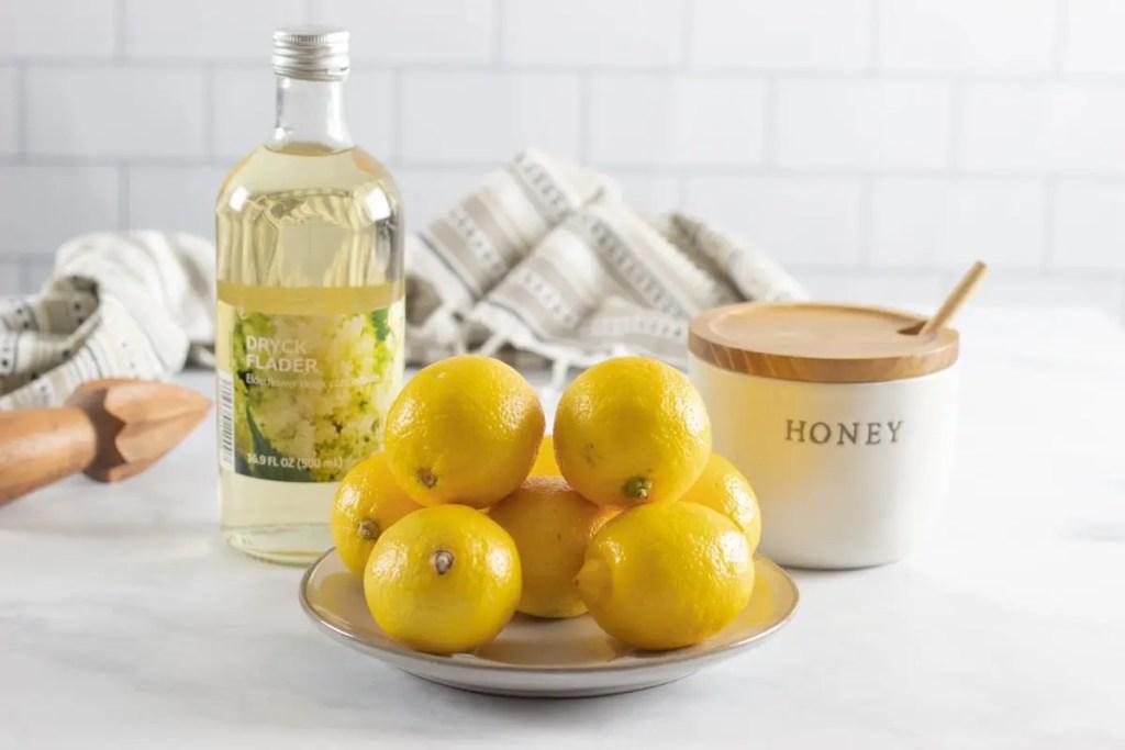 Lemons, honey, and elderflower syrup.