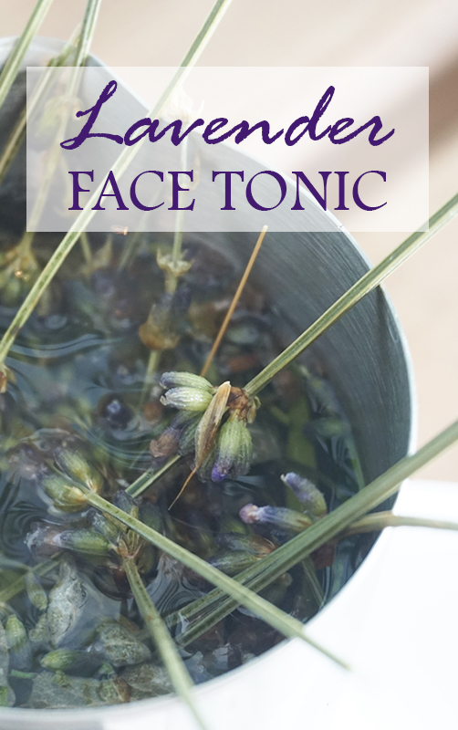 Lavender flowers steeping in boiling water. Caption: Lavender Face Tonic
