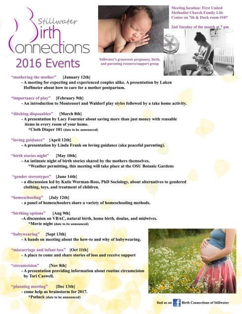 Stillwater Birth Connections 2016 Events